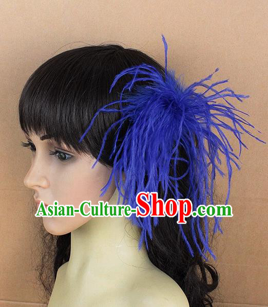 Handmade Carnival Blue Ostrich Feather Hair Claw Miami Stage Show Feather Hair Accessories for Women