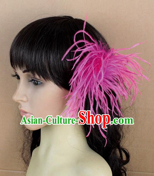 Handmade Carnival Rosy Ostrich Feather Hair Claw Miami Stage Show Feather Hair Accessories for Women