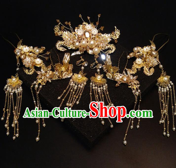 Top Chinese Traditional Wedding Phoenix Coronet Classical Pearls Hairpins Headdress for Women