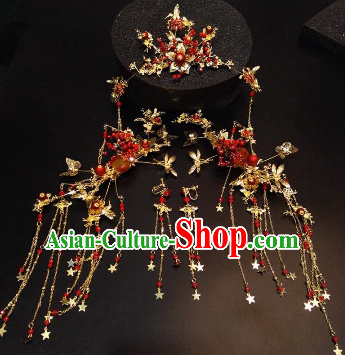 Top Chinese Traditional Wedding Phoenix Coronet Classical Hairpins Headdress for Women