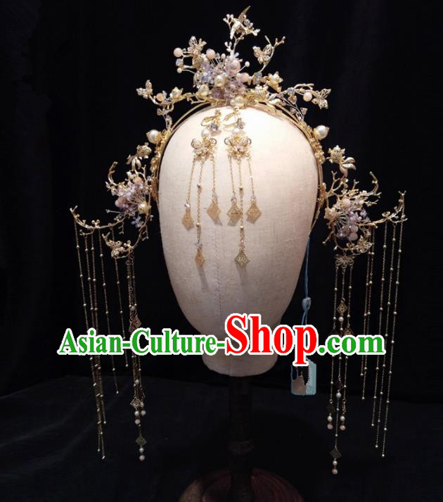 Top Chinese Traditional Wedding Tassel Phoenix Coronet Classical Hairpins Headdress for Women