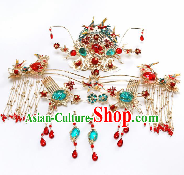 Top Chinese Traditional Wedding Hair Accessories Ancient Blueing Jewel Phoenix Coronet Hairpins Complete Set for Women