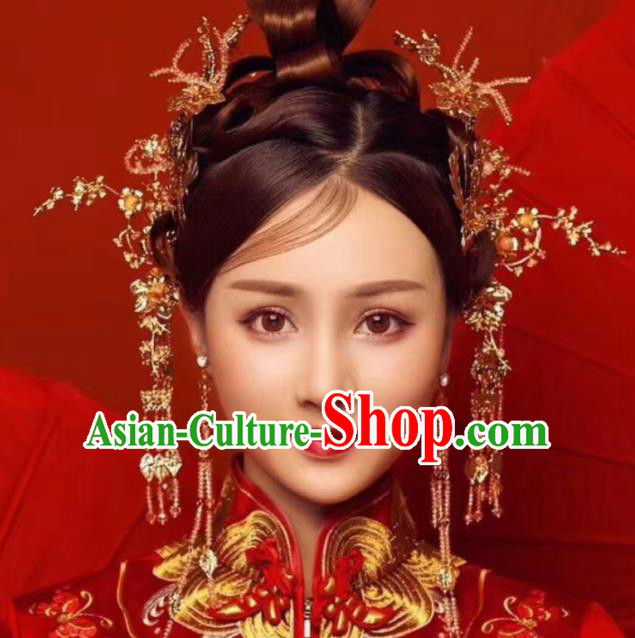 Top Chinese Traditional Wedding Hair Combs Hair Accessories Ancient Palace Hairpins Complete Set for Women