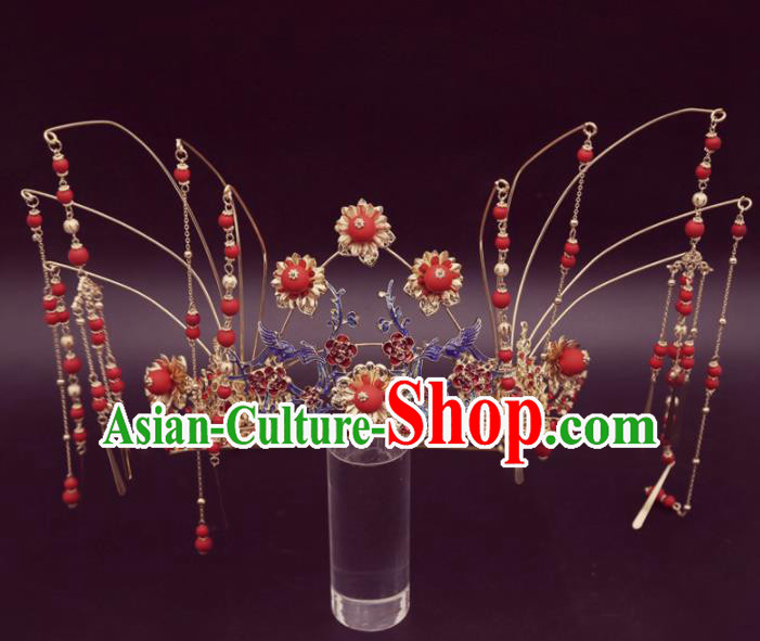 Top Chinese Traditional Hair Accessories Ancient Wedding Red Tassel Phoenix Coronet Palace Hairpins Complete Set for Women