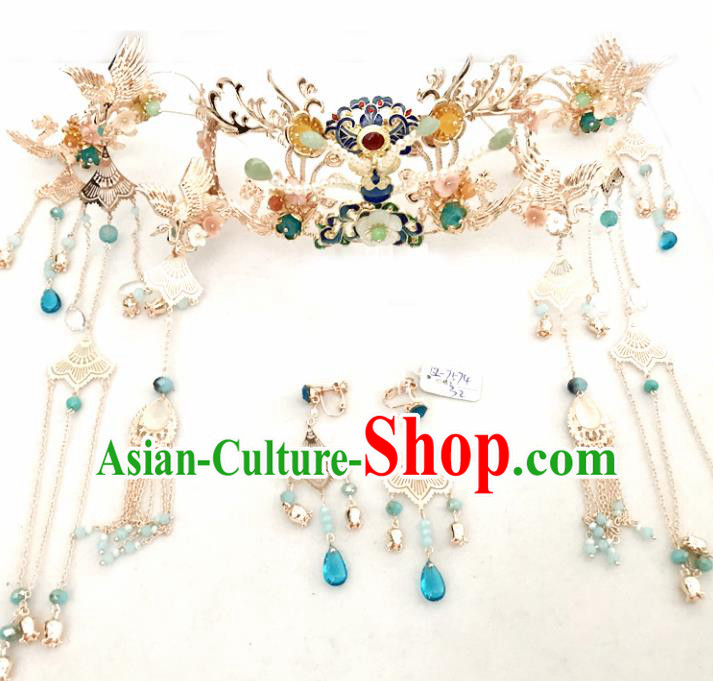 Top Chinese Traditional Wedding Hair Accessories Ancient Blueing Phoenix Coronet Hairpins Complete Set for Women