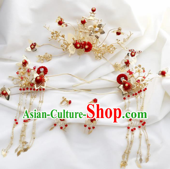 Top Chinese Ancient Traditional Wedding Hair Accessories Tassel Step Shake Hairpins Complete Set for Women