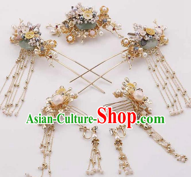 Top Chinese Traditional Hair Accessories Ancient Classical Hair Combs Palace Hairpins Complete Set for Women