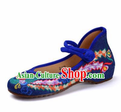 Chinese Shoes Wedding Shoes Traditional Blue Embroidered Shoes Embroidery Phoenix Hanfu Shoes for Women