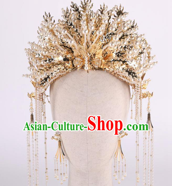 Top Chinese Traditional Wedding Hair Accessories Ancient Golden Tassel Phoenix Coronet Hairpins Headdress for Women
