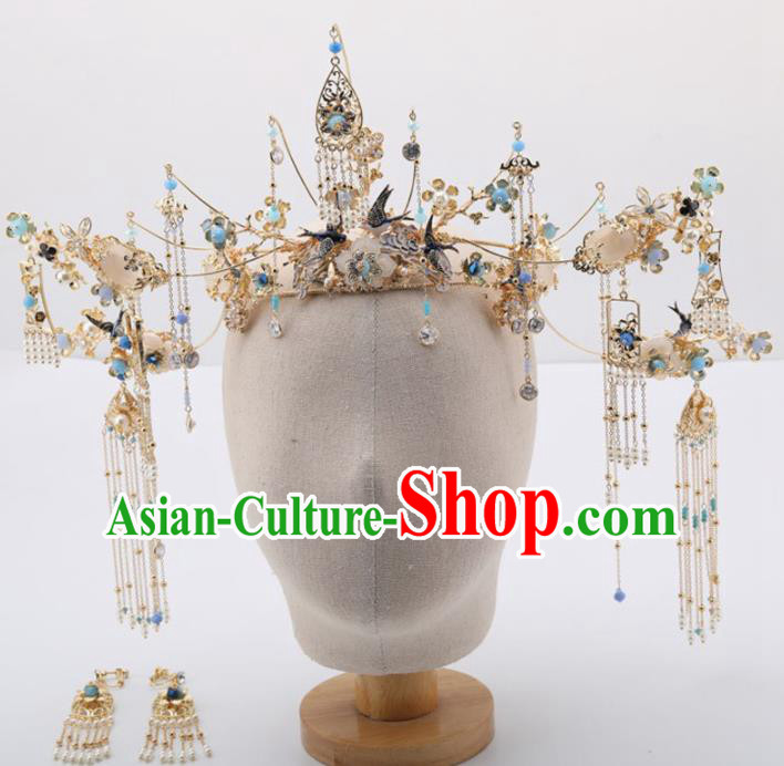 Top Chinese Traditional Wedding Hair Accessories Ancient Palace Blue Tassel Phoenix Coronet Hairpins for Women