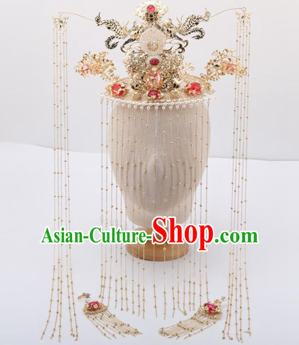 Top Chinese Traditional Wedding Hair Accessories Ancient Palace Queen Phoenix Coronet Hairpins for Women