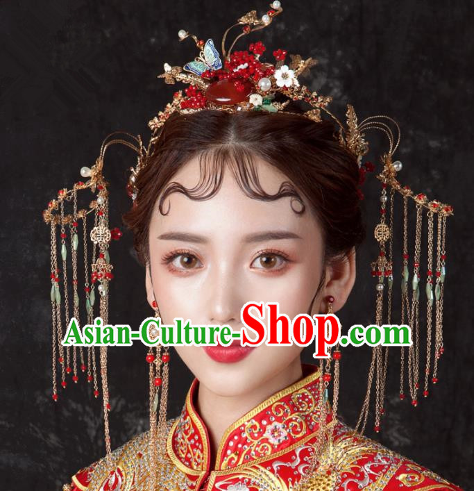 Top Chinese Traditional Wedding Hair Accessories Ancient Tassel Phoenix Coronet Hairpins Complete Set for Women