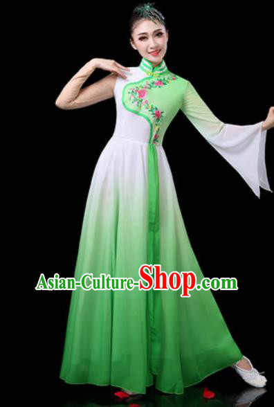 Chinese Traditional Classical Dance Costumes Group Dance Umbrella Dance Green Dress for Women