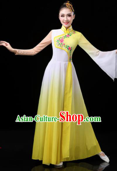 Chinese Traditional Classical Dance Costumes Group Dance Umbrella Dance Yellow Dress for Women