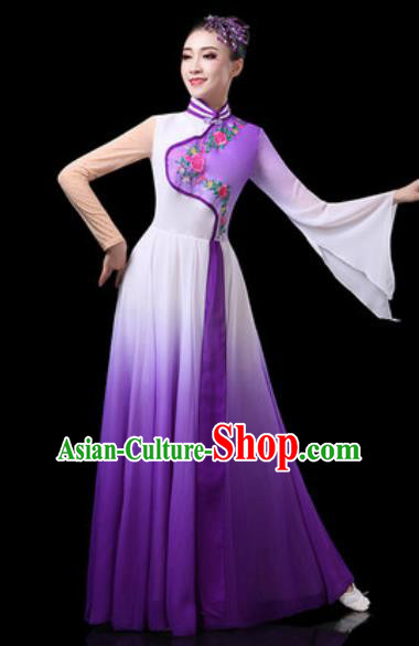 Chinese Traditional Classical Dance Costumes Group Dance Umbrella Dance Purple Dress for Women
