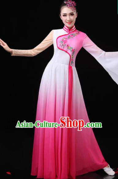Chinese Traditional Classical Dance Costumes Umbrella Dance Group Dance Pink Dress for Women