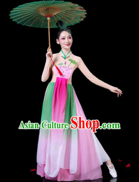 Chinese Classical Dance Costumes Traditional Umbrella Dance Lotus Dance Dress for Women