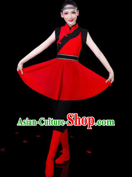 Chinese Ethnic Costumes Traditional Mongolian Nationality Folk Dance Red Dress for Women