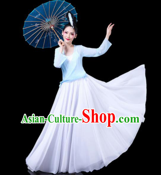 Chinese Classical Dance Costumes Traditional Chorus Umbrella Dance Blue Dress for Women