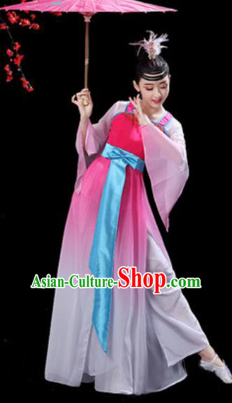 Chinese Classical Dance Umbrella Dance Pink Dress Traditional Chorus Costumes for Women