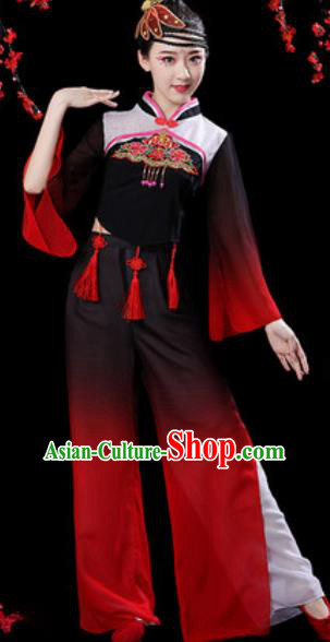 Chinese Folk Dance Yangko Dance Costumes Traditional Drum Dance Fan Dance Black Clothing for Women