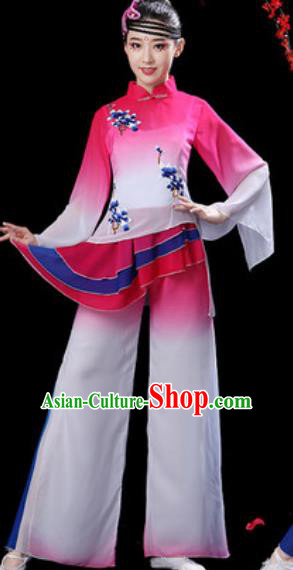 Chinese Folk Dance Yangko Dance Costumes Traditional Drum Dance Fan Dance Rosy Clothing for Women