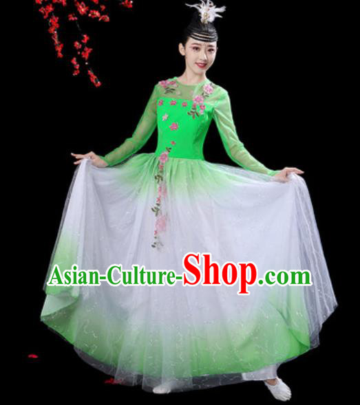 Chinese Classical Dance Green Veil Dress Traditional Umbrella Dance Fan Dance Costumes for Women