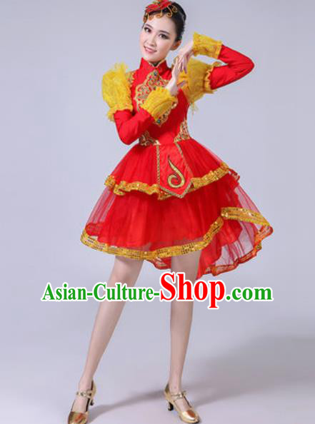 Traditional Chinese Folk Dance Drum Dance Costumes Fan Dance Yangko Dance Red Dress for Women