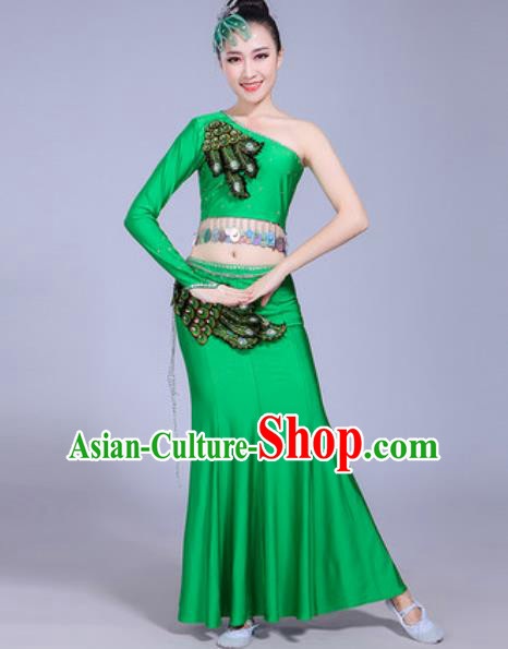 Traditional Chinese Dai Nationality Peacock Dance Costume Folk Dance Ethnic Pavane Green Dress for Women
