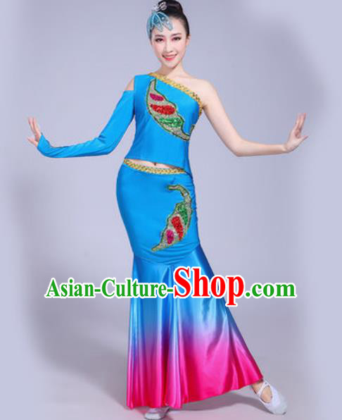 Traditional Chinese Dai Nationality Peacock Dance Costume Folk Dance Ethnic Pavane Blue Dress for Women