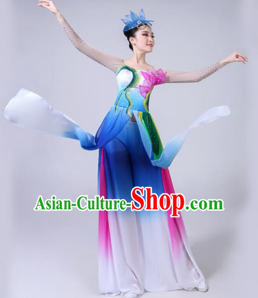 Chinese Classical Dance Costumes Traditional Chorus Group Dance Umbrella Dance Dress for Women
