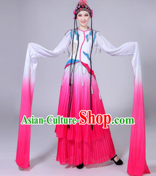 Chinese Classical Dance Water Sleeve Costumes Traditional Group Dance Umbrella Dance Pink Dress for Women
