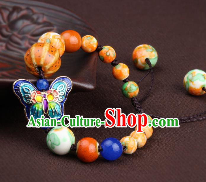 Chinese Traditional Jewelry Accessories National Hanfu Blueing Butterfly Beads Bracelet for Women