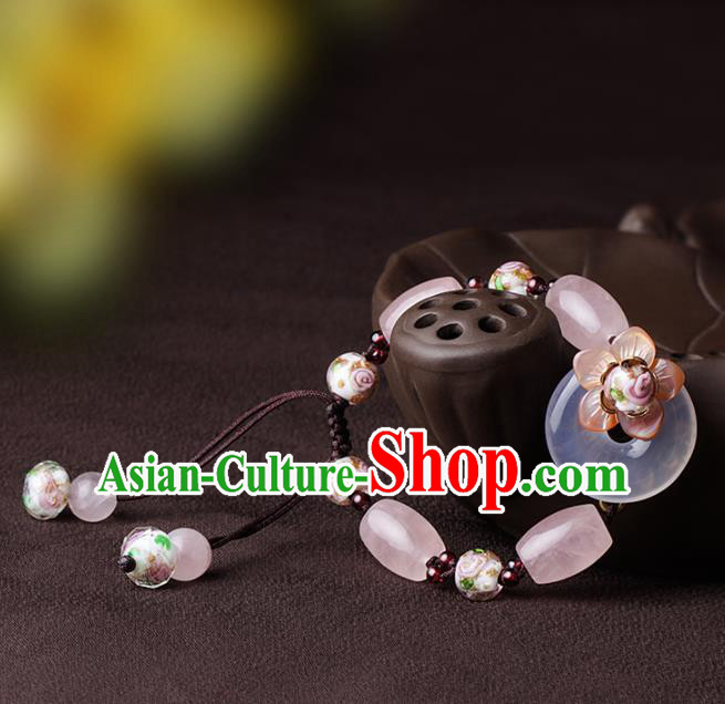 Chinese Traditional Jewelry Accessories National Hanfu Rose Quartz Beads Bracelet for Women