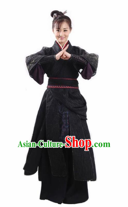Chinese Traditional Ming Dynasty Female Knight Replica Costumes Ancient Swordswoman Black Hanfu Dress