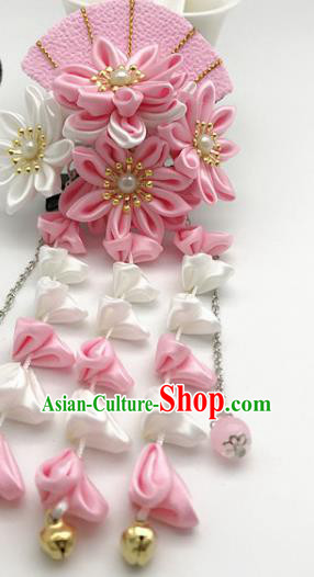 Asian Japanese Traditional Handmade Pink Fan Hairpins Japan Classical Kimono Hair Accessories for Women