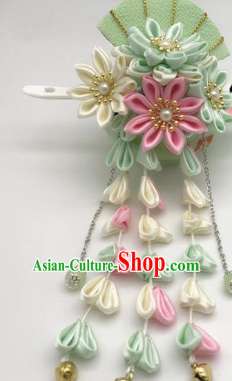 Asian Japanese Traditional Handmade Green Fan Hairpins Japan Classical Kimono Hair Accessories for Women