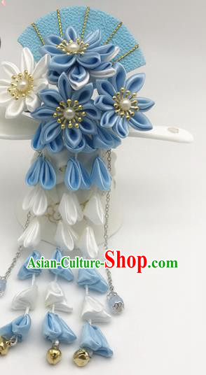 Asian Japanese Traditional Handmade Blue Fan Hairpins Japan Classical Kimono Hair Accessories for Women