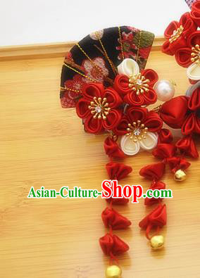 Asian Japanese Traditional Kimono Hair Stick Japan Handmade Classical Red Flowers Hair Accessories for Women