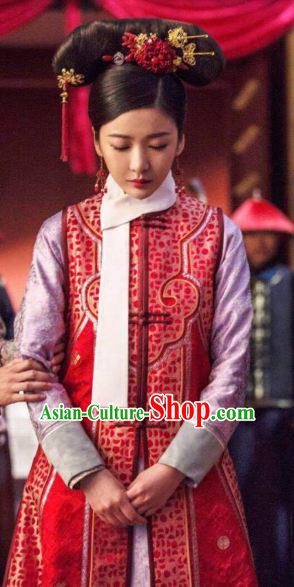 Ruyi Royal Love in the Palace Chinese Ancient Drama Qing Dynasty Palace Lady Embroidered Costumes and Headpiece Complete Set