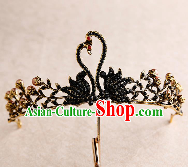 Handmade Top Grade Bride Royal Crown Black Swan Hair Accessories Baroque Queen Hair Clasp for Women