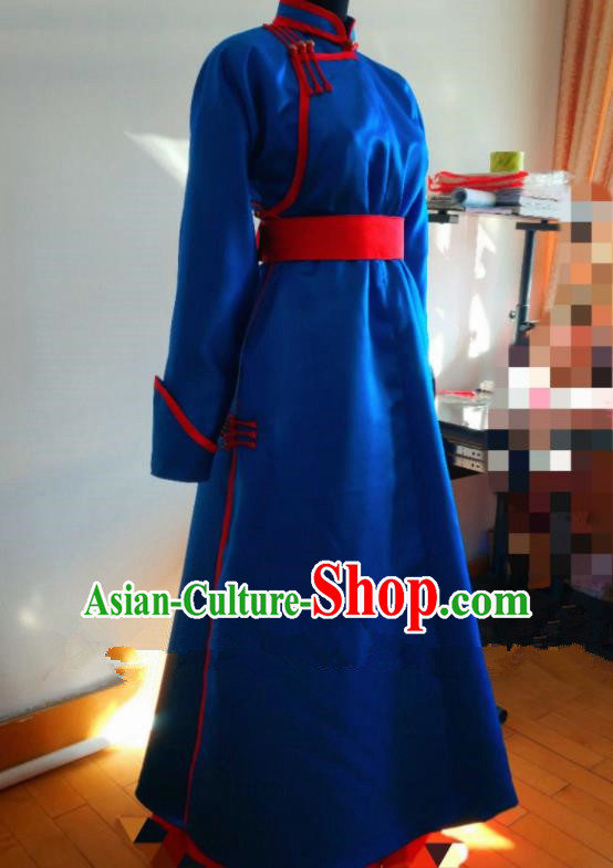 Traditional Chinese Mongol Nationality Costumes Mongols Female Folk Dance Ethnic Royalblue Dress for Women