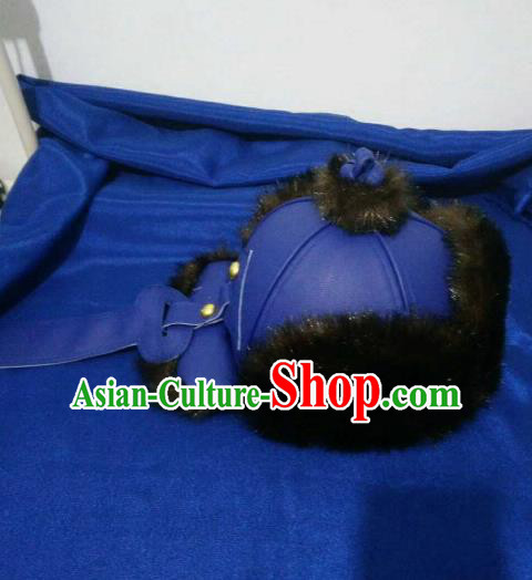 Traditional Chinese Mongol Nationality Hats Mongols Folk Dance Blue Leather Hat for Men
