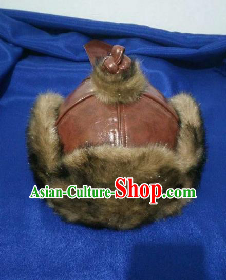 Traditional Chinese Mongol Nationality Hats Mongols Folk Dance Brown Leather Hat for Men