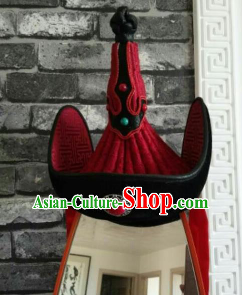 Traditional Chinese Mongol Nationality Hats Mongols Folk Dance Red Hat for Women