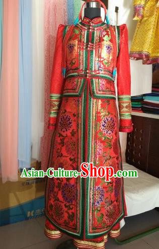 Traditional Chinese Mongol Nationality Costumes Mongolian Ethnic Female Folk Dance Red Dress for Women