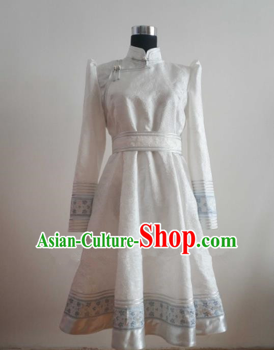 Traditional Chinese Mongol Nationality Folk Dance Costumes Mongolian Ethnic Female White Dress for Women