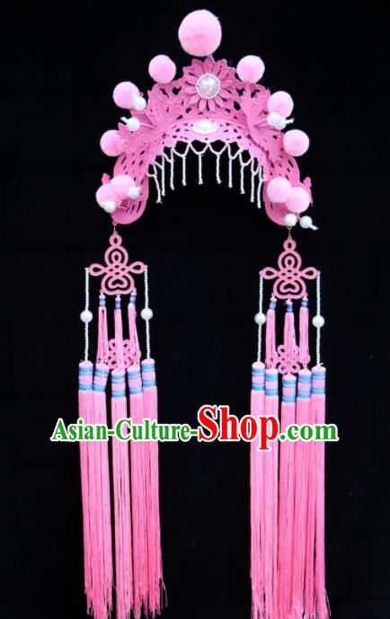 Traditional Chinese Beijing Opera Princess Hats Peking Opera Diva Pink Phoenix Coronet for Women