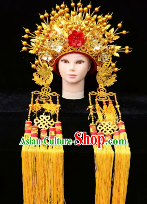 Traditional Chinese Peking Opera Diva Golden Phoenix Coronet Beijing Opera Princess Hats for Women