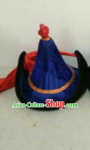 Traditional Chinese Mongol Nationality Hats Mongols Ethnic Royal Highness Royalblue Hat for Men